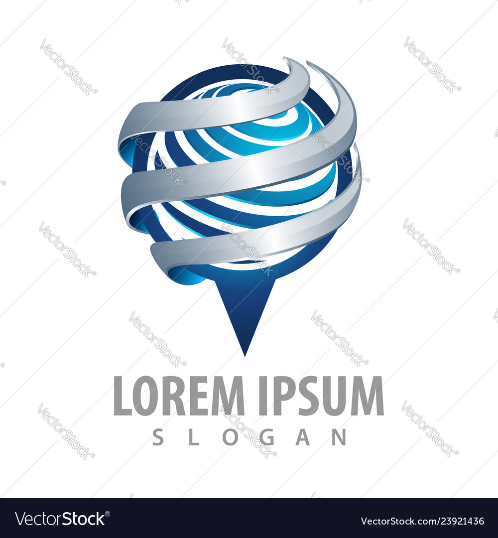 Pin navigation logo concept design symbol graphic