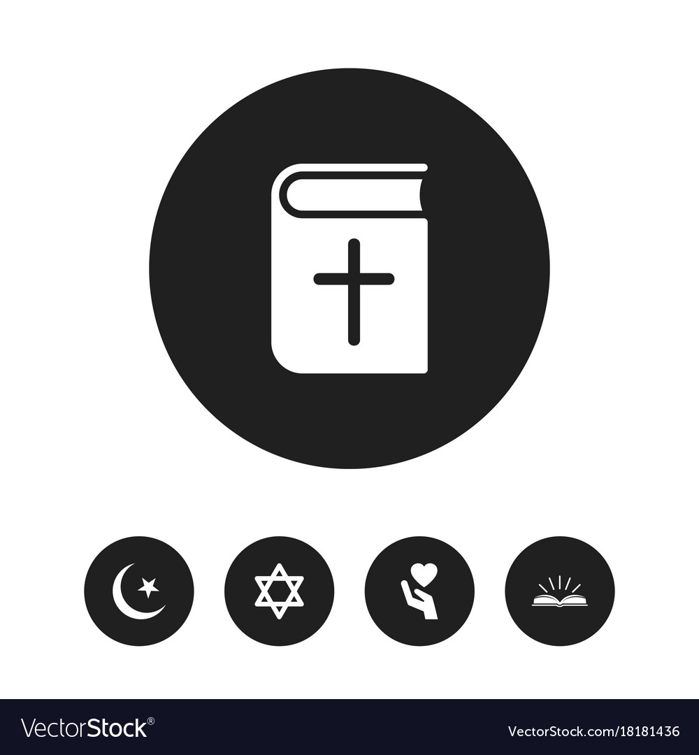 Set Of 5 Editable Faith Icons Includes Symbols Vector Image