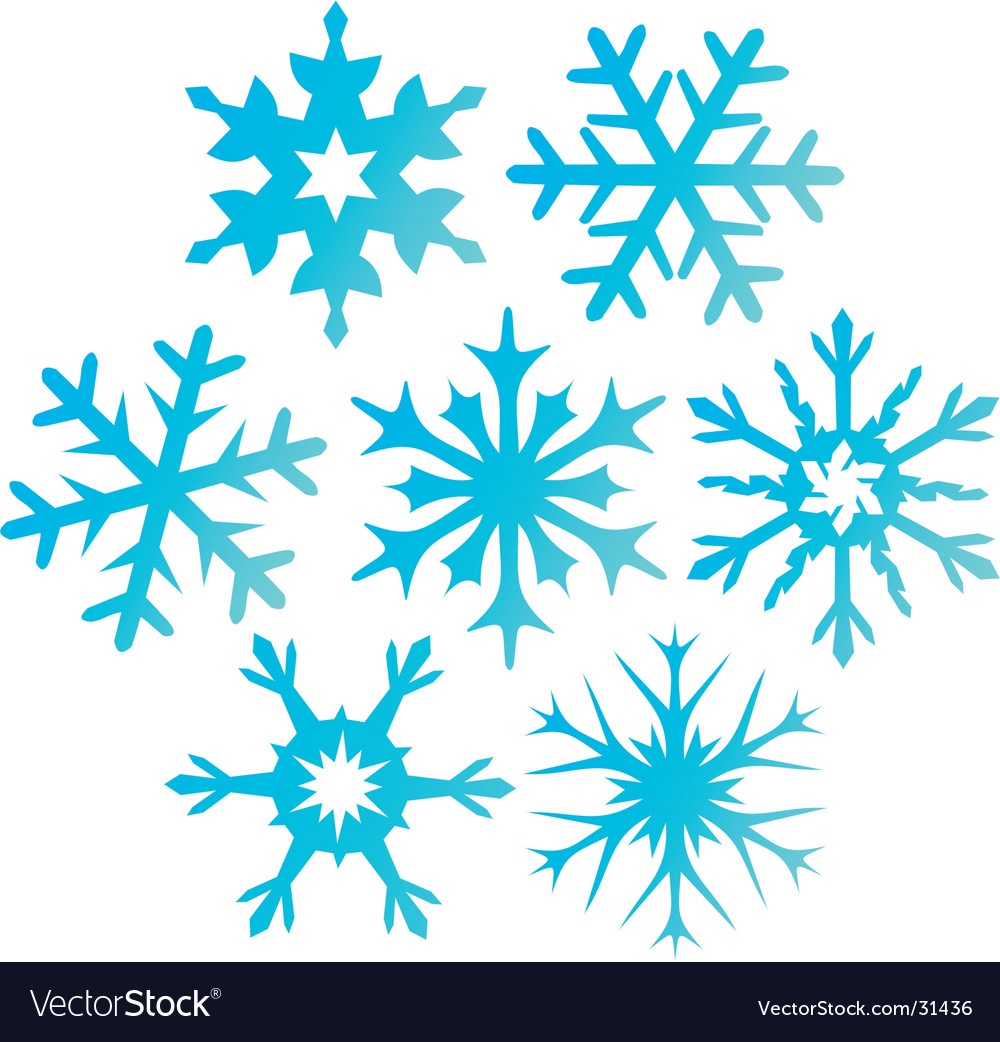 Seven blue snowflakes illustration vector image
