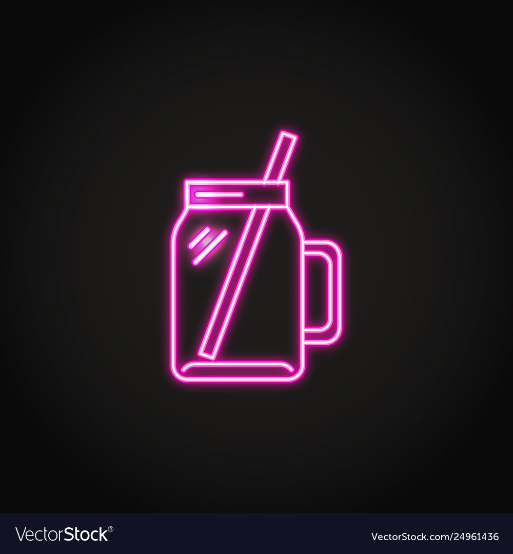 Smoothie cup icon in glowing neon style