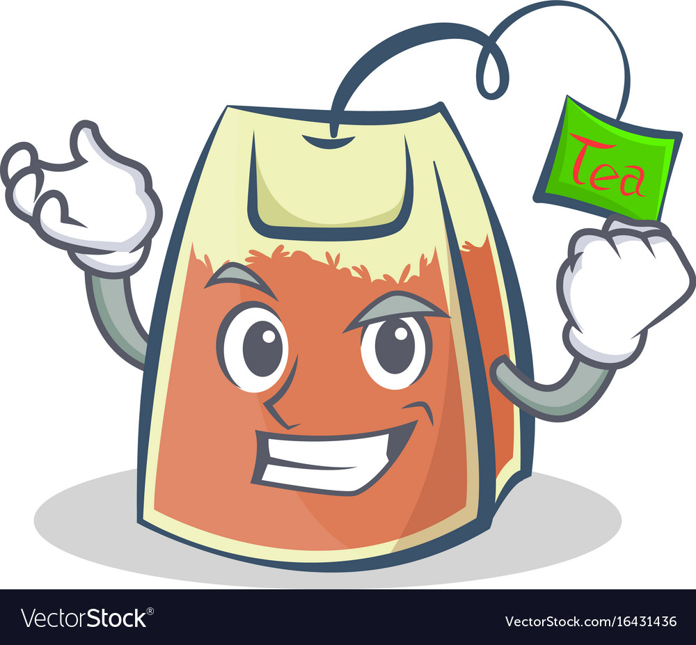 Successful tea bag character cartoon vector image