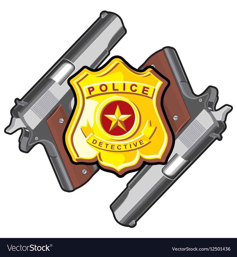 Two handgun badge vector image