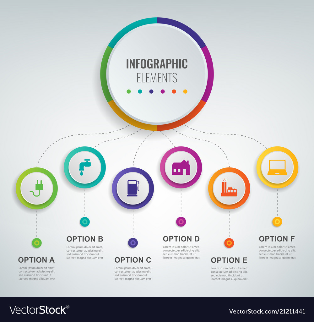Abstract 3d infographic template with 6 options