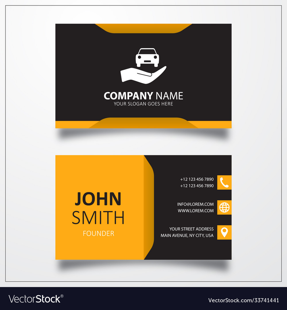 Car in hand icon business card template