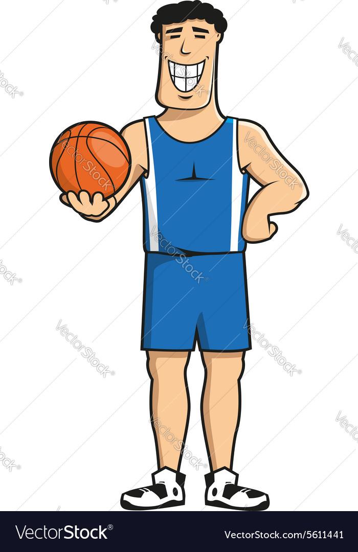 Cartoon basketball player with ball vector image