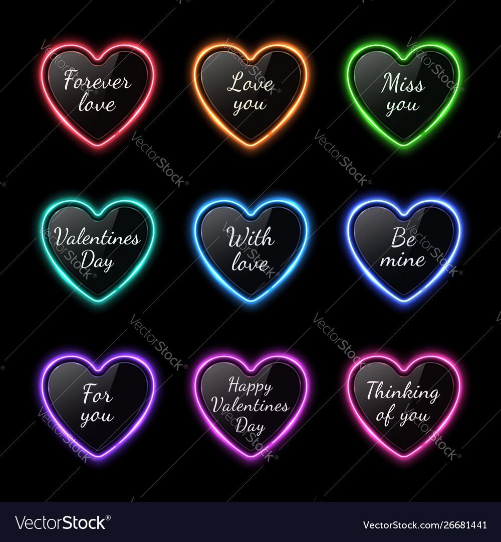 Color neon light hearts set with celebration text