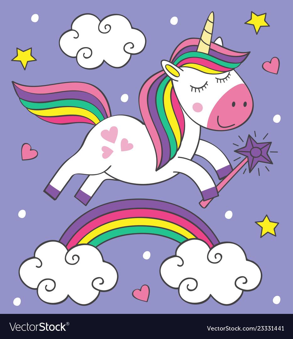Cute little unicorn flies over the rainbow