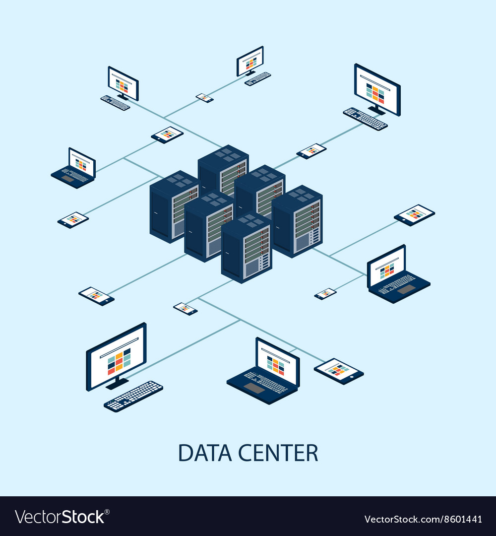 Data isometric set with data center and network