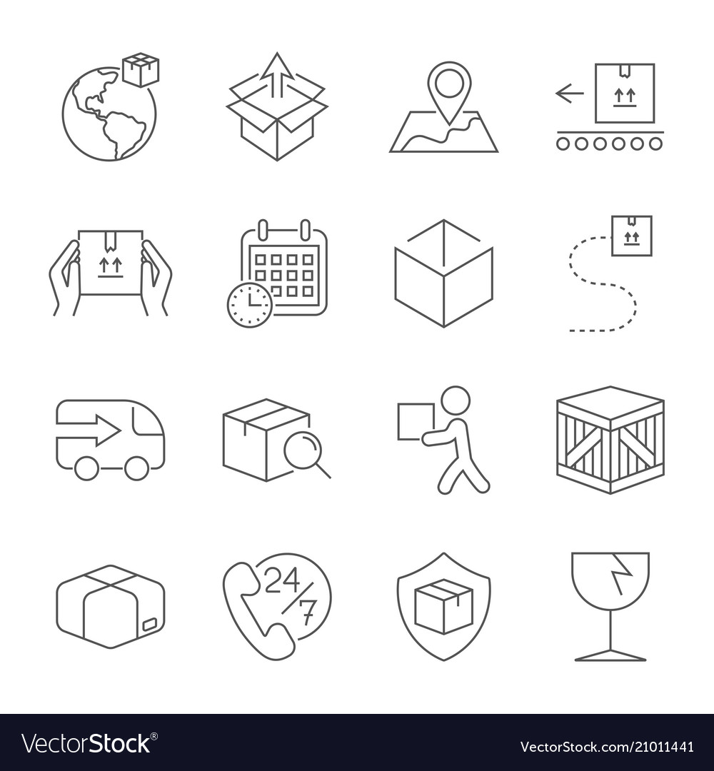 Delivery set of outline icons includes such as