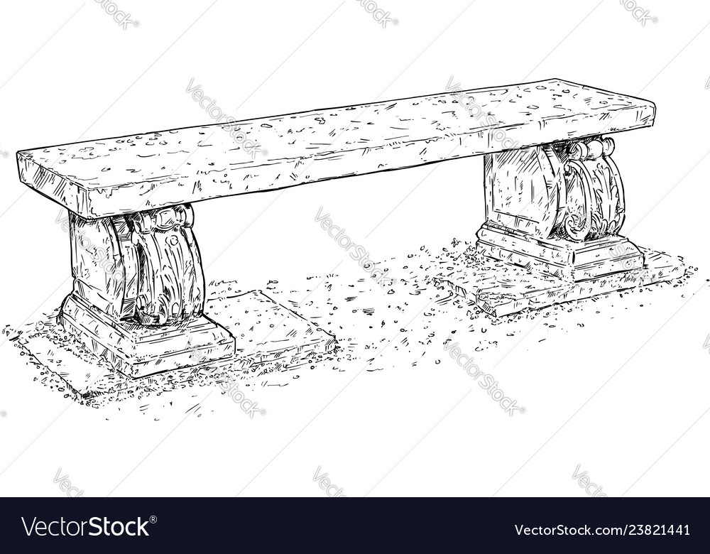 Drawing Of Old Antique Outdoor Park Or Garden Vector Image