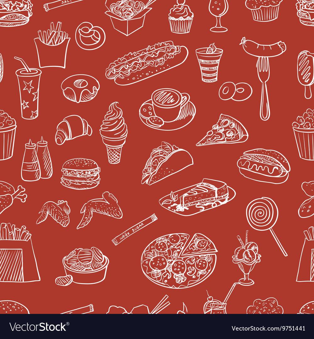 Hand drawn fast food pattern