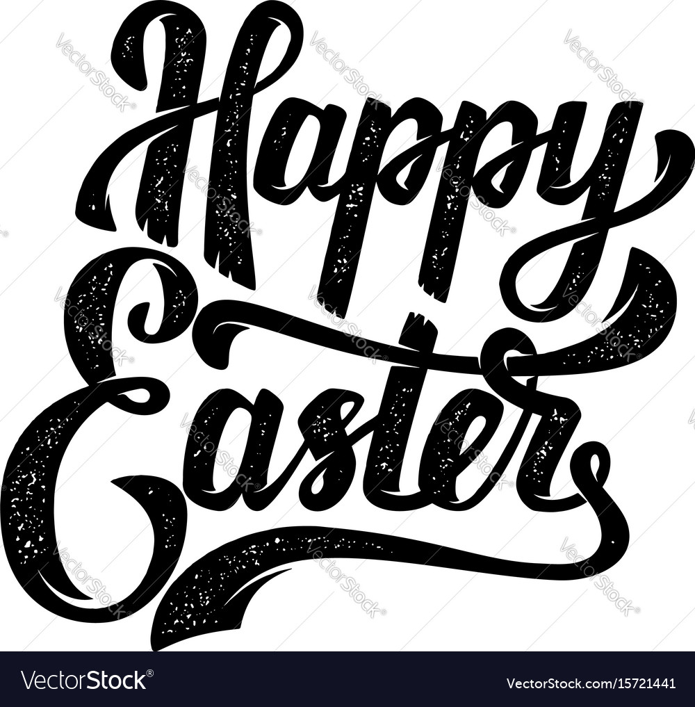Happy easter hand drawn lettering phrase isolated