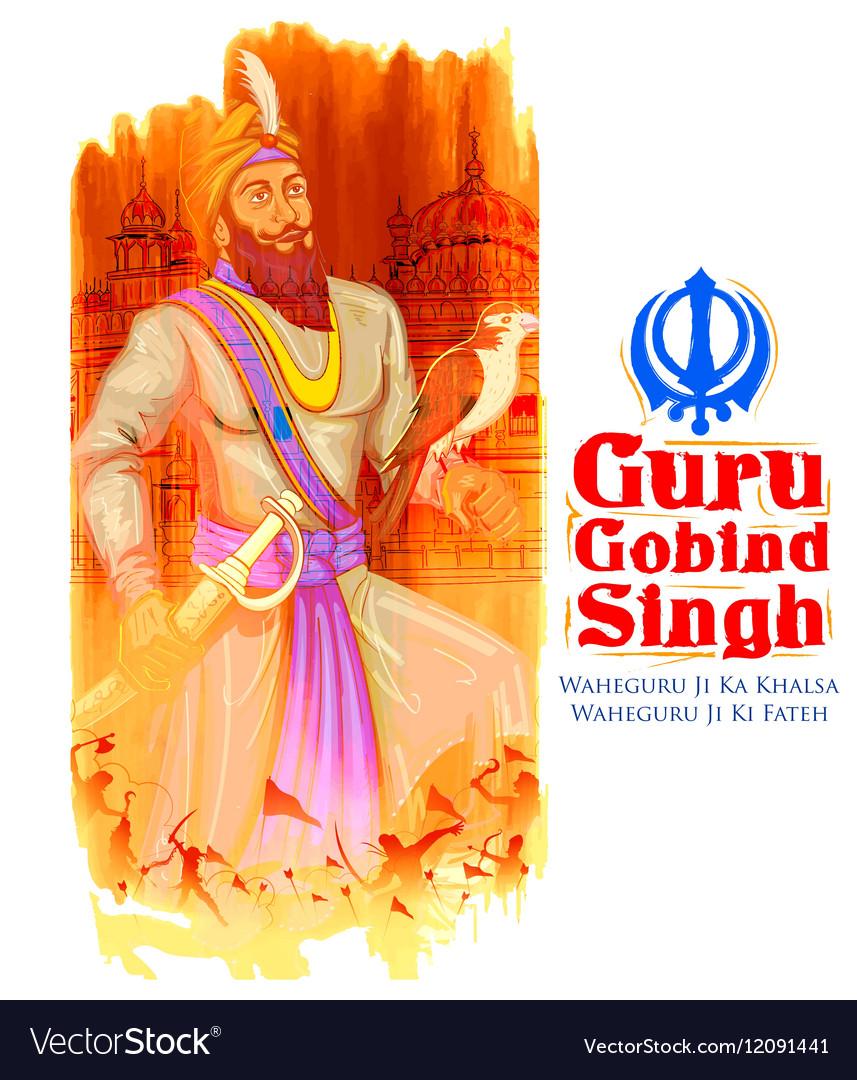 Happy Guru Gobind Singh Jayanti Festival For Sikh Vector Image