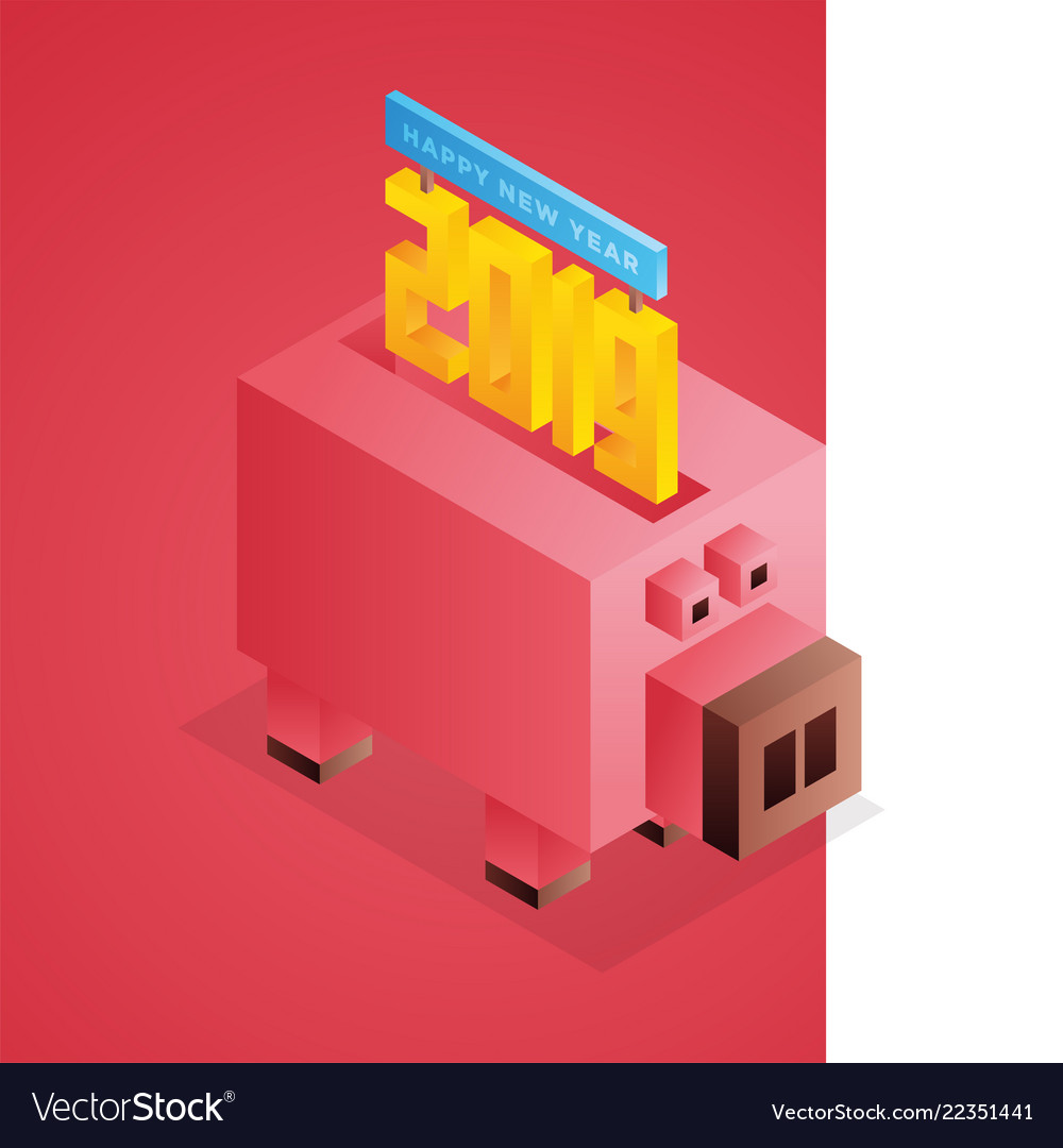 Happy new year 2019 isometric text design with pig