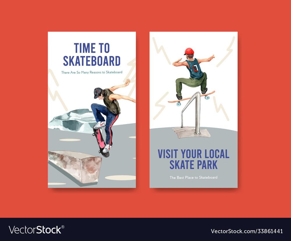 Instagram template with skateboard design concept