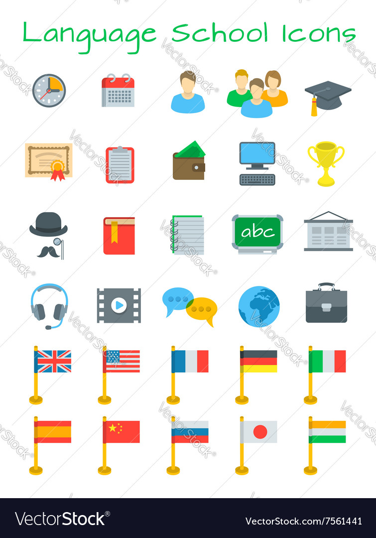 Language courses flat education icons