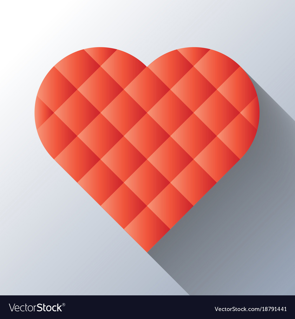 Red heart mosaic of square tiles with long shadow vector image
