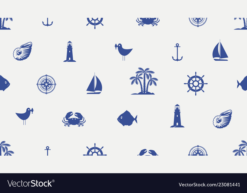 Seamless background with cute sea objects