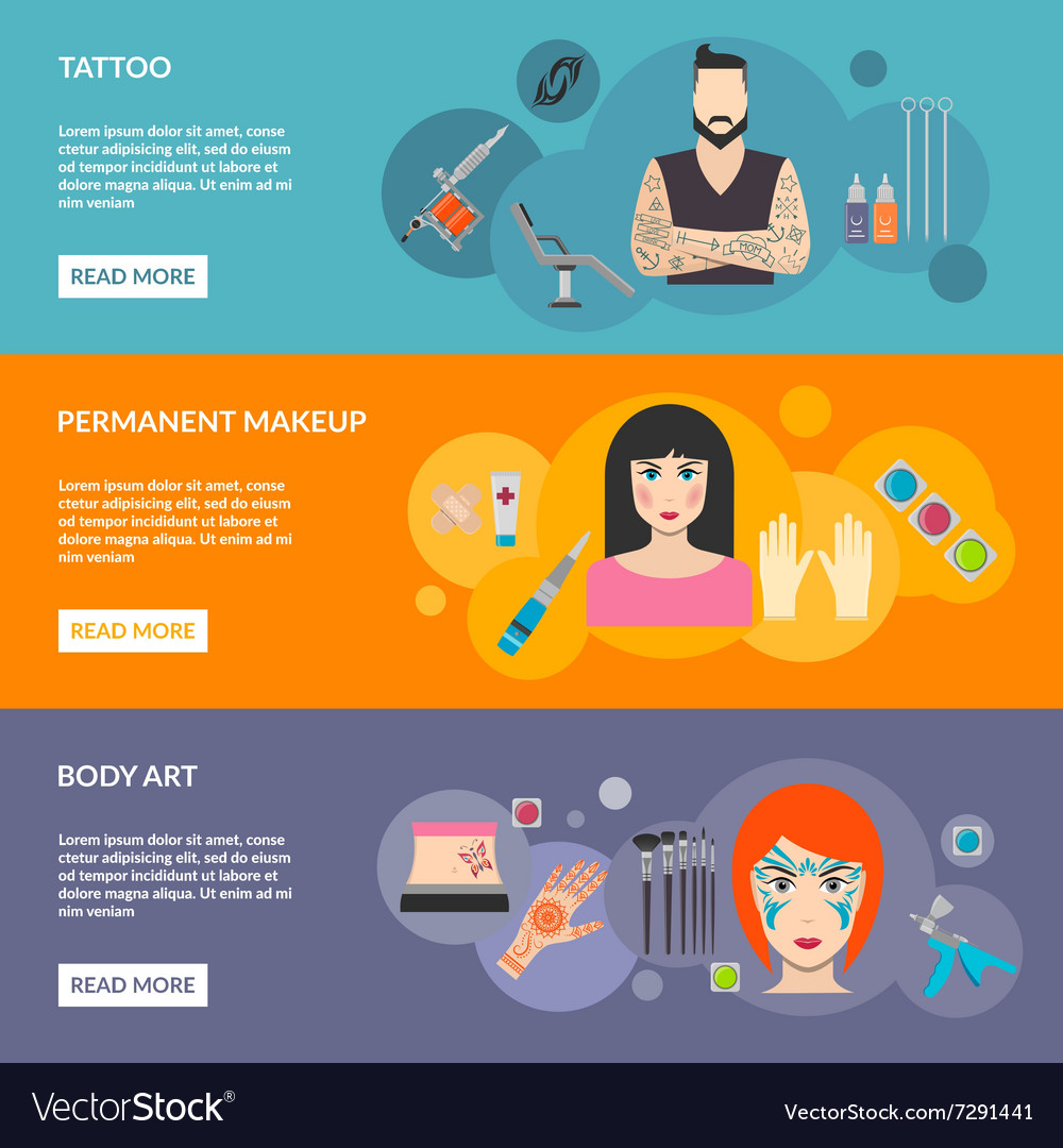 Set Of Body Art Tattoo Makeup With Description Vector Image