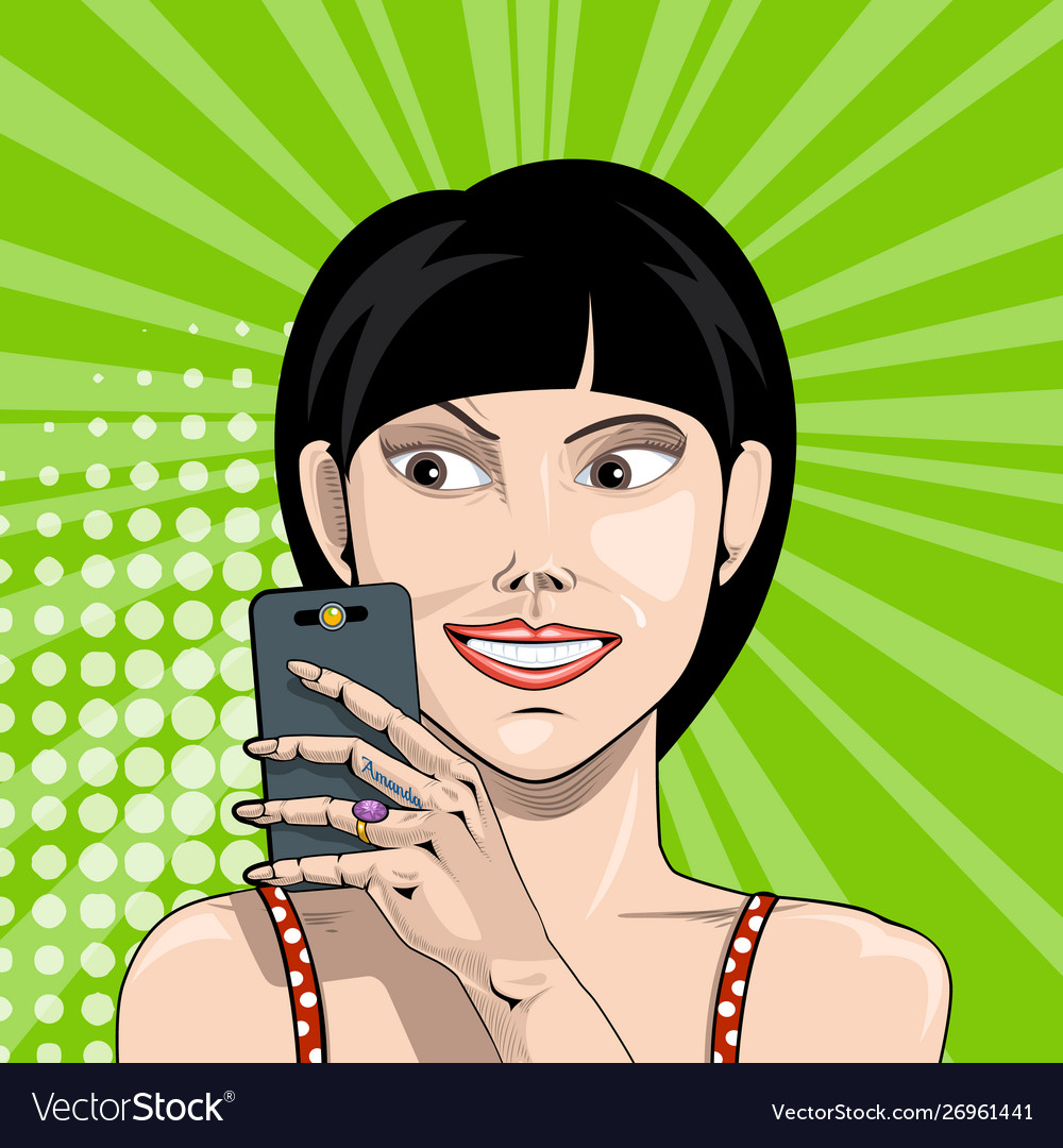 Smiling girl with smartphone in hand takes a
