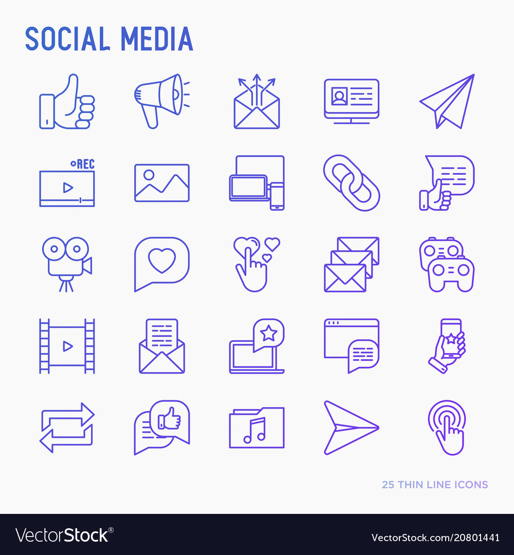 Social media thin line icons set
