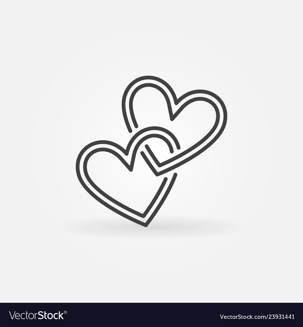 Two crossed hearts linear icon love