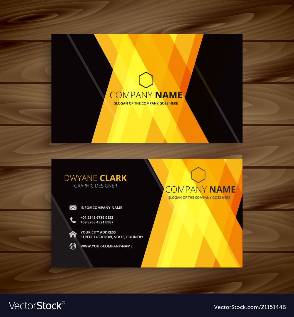 Abstract yellow dark business card design