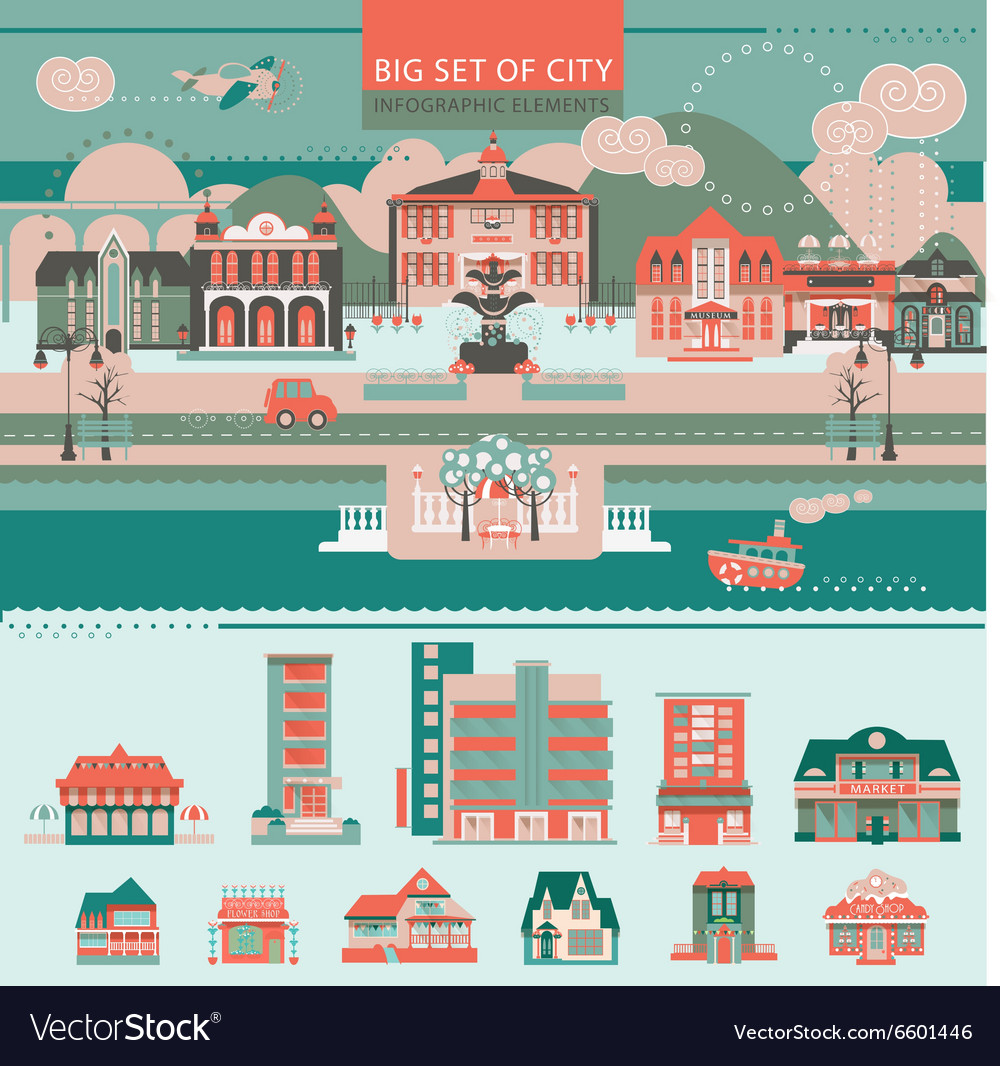 Big set with City Infographic Objects
