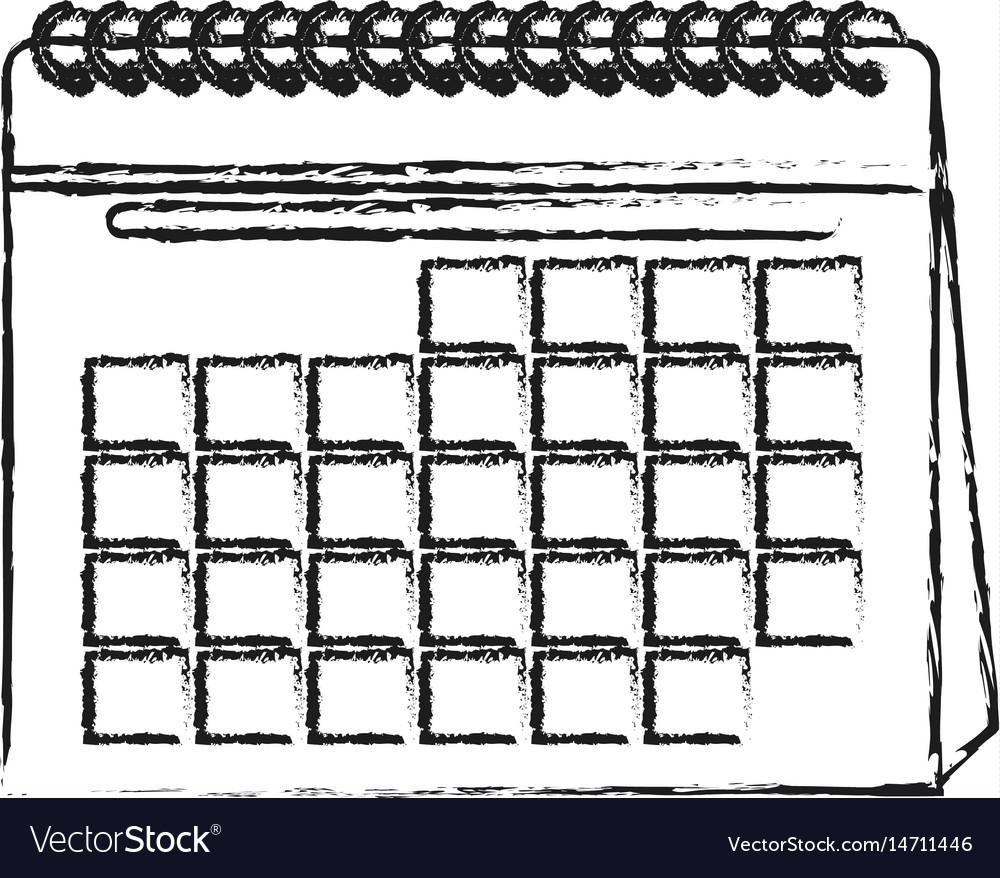 Blurred silhouette cartoon calendar with spiral