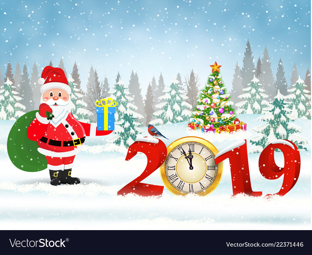 Christmas card with clock