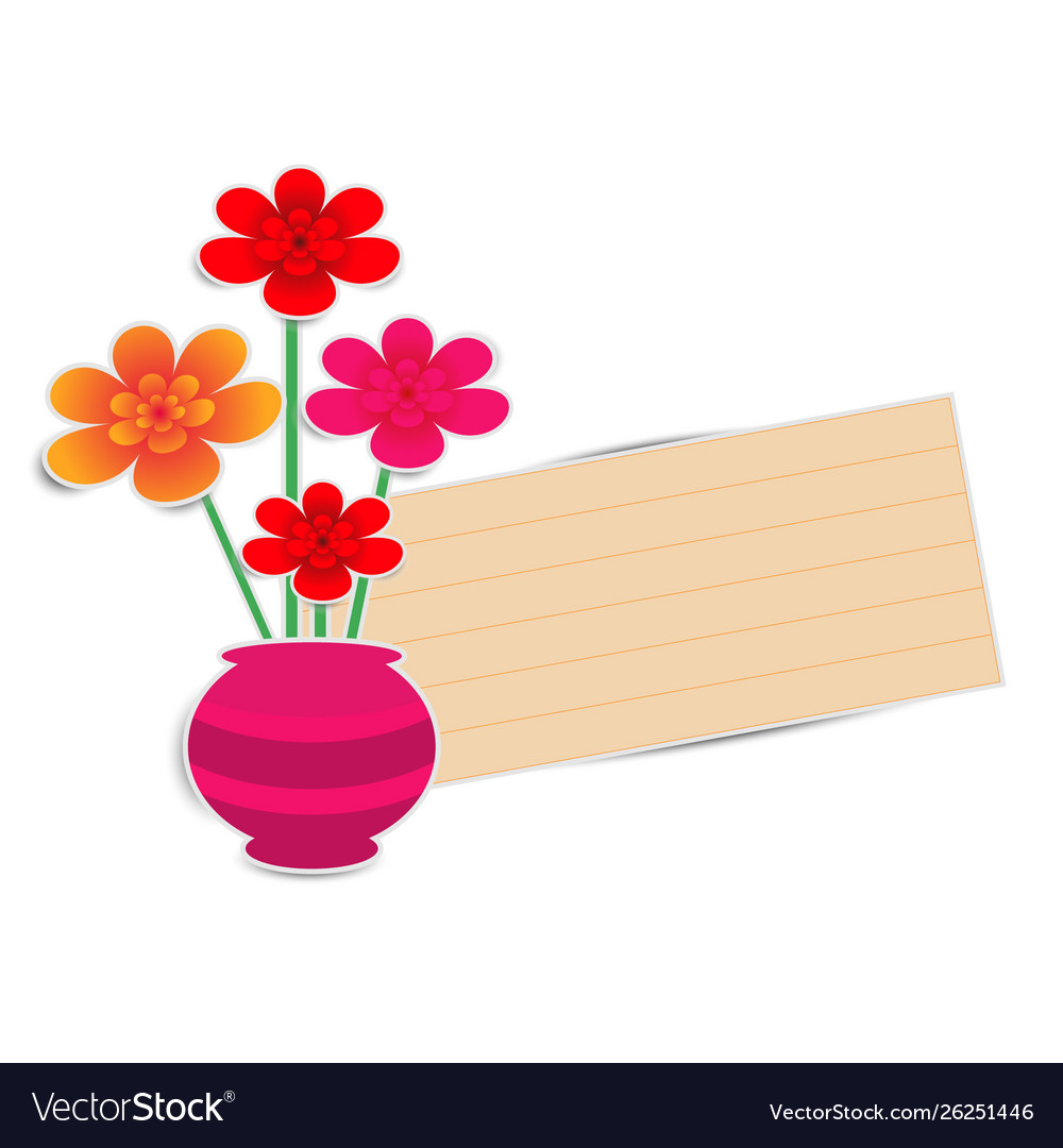 Flower pot with paper note