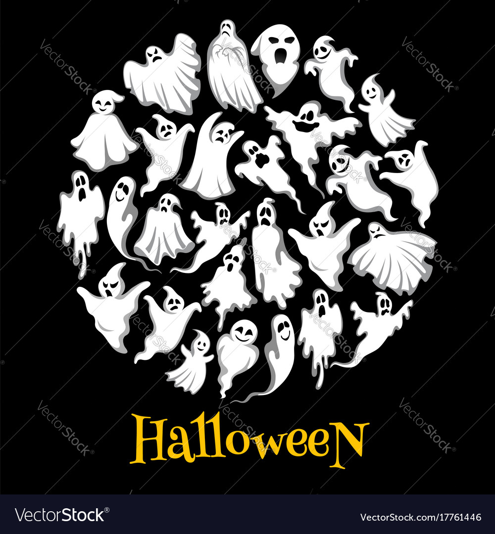 halloween ghost or holiday spirit round poster vector image on vectorstock