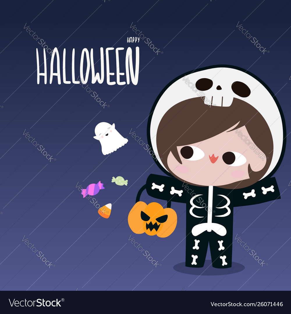 Kid in skeleton suit with ghost candy halloween