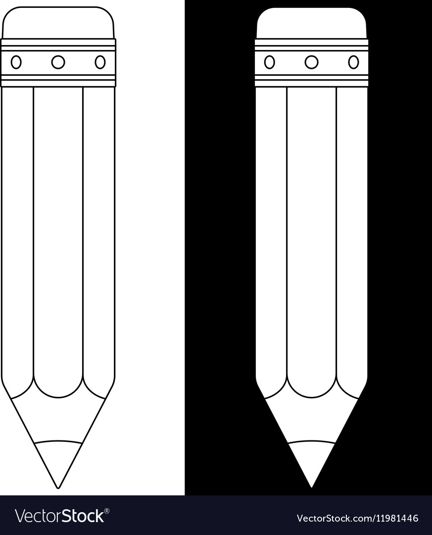 Pencil icon Black and white outline
