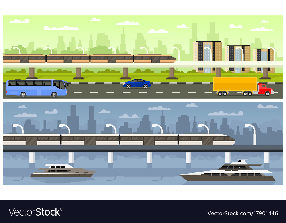 Railroad with high-speed train vector image