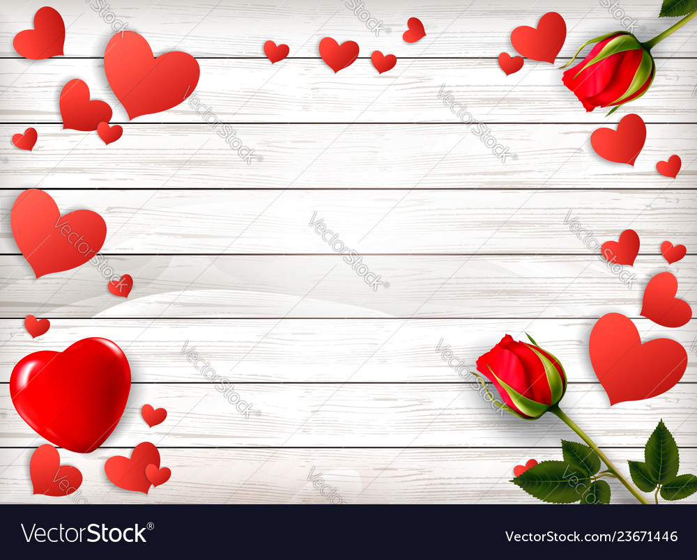 Red roses and paper hearts on a wooden sign