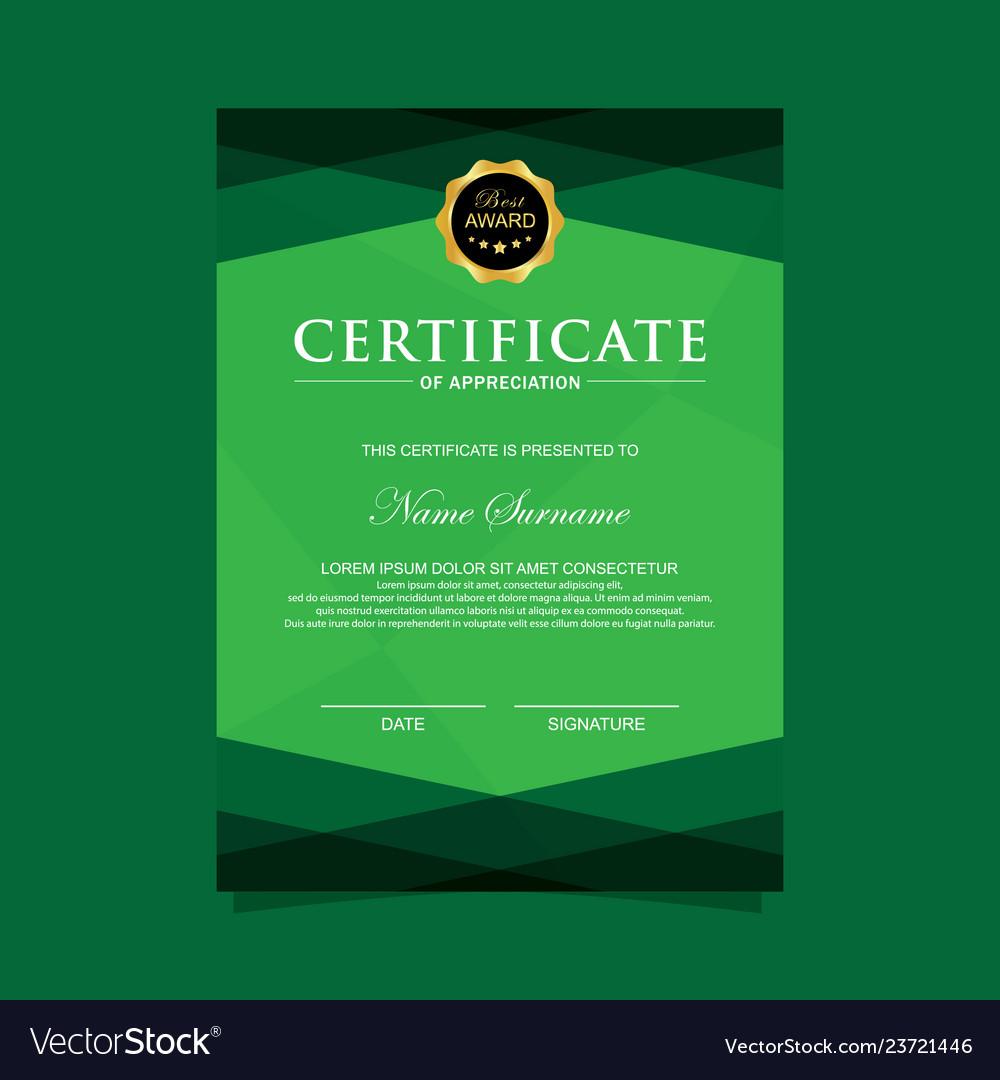Vertical modern certificate template