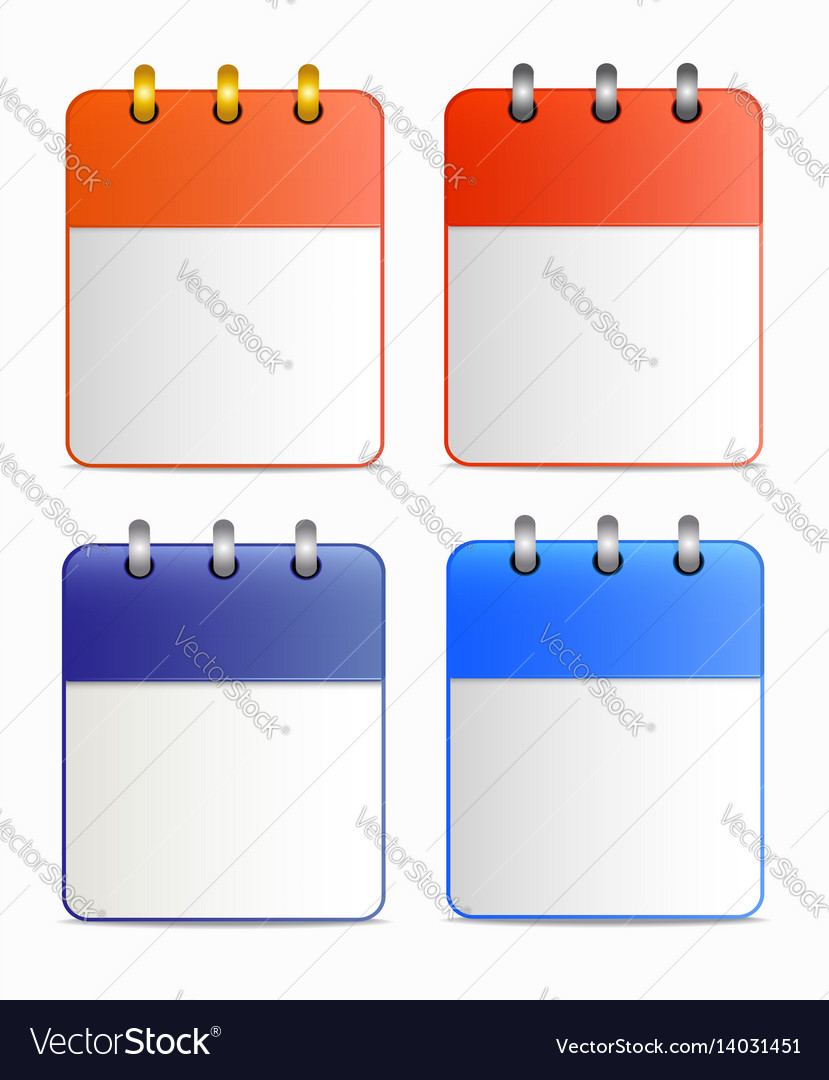 Blank sheet of calendar icon in four variants