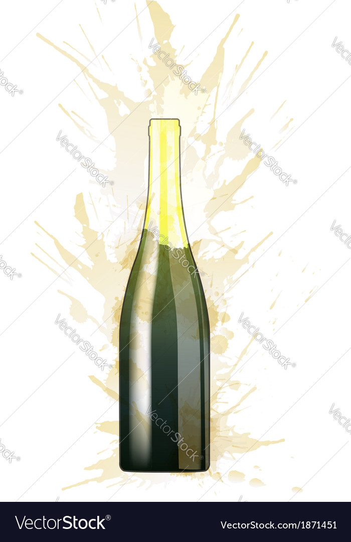 Bottle of sparkling wine made of colorful splashes