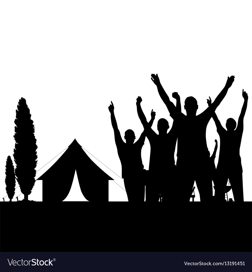 Camping in nature with people black silhouette vector image