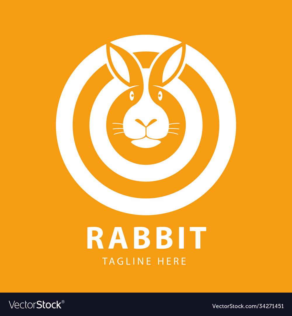 Cute rabbit head logo circles design template