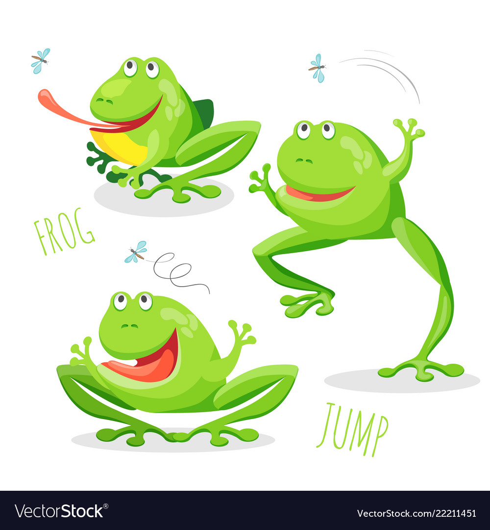 Funny cartoon jumping frog set sketch