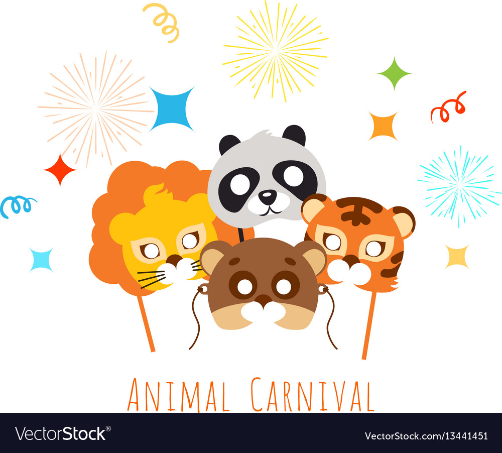 Funny childish animal masks for animal carnival