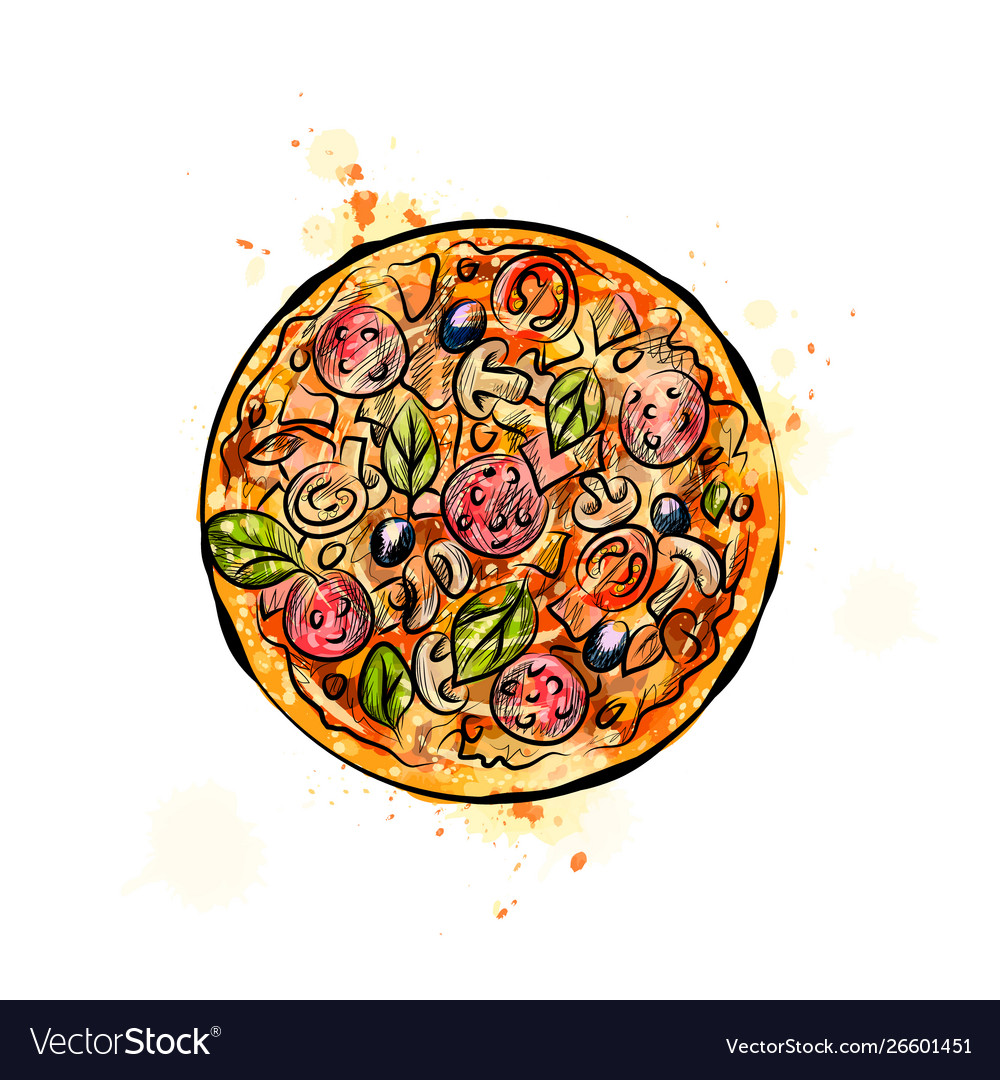 Pizza from a splash watercolor hand drawn
