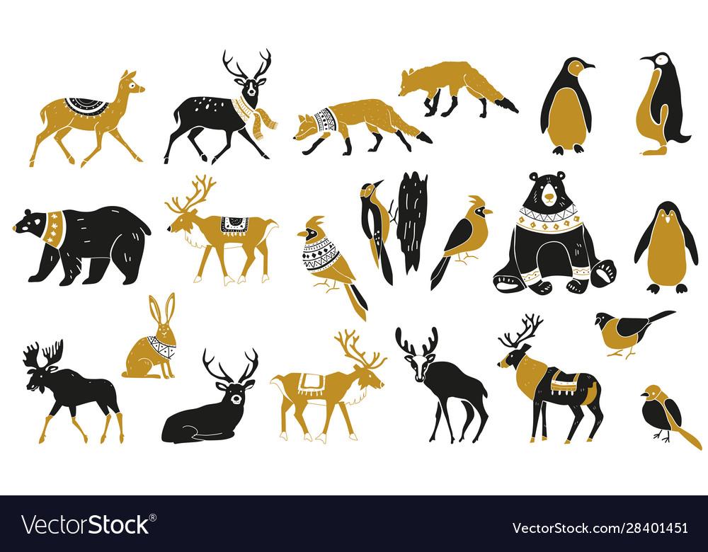 Set winter animals silhouettes set of