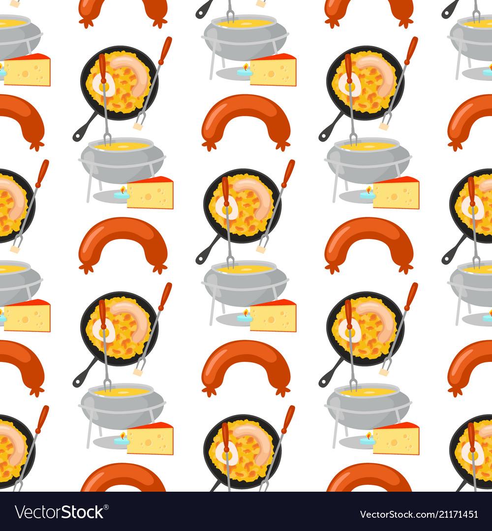 Smoke dried sausages seamless pattern background