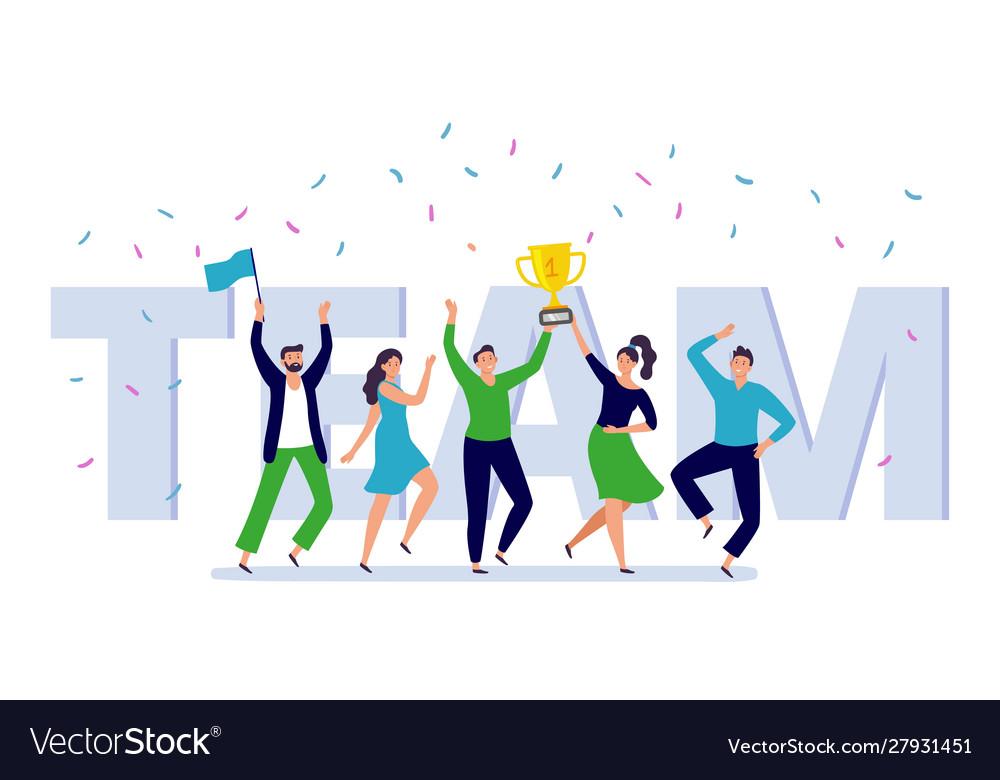 Team corporate people celebration happy office