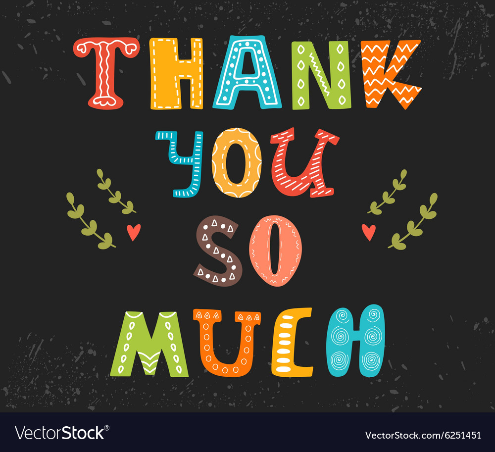 Thank you so much postcard Cute greeting card Vector Image