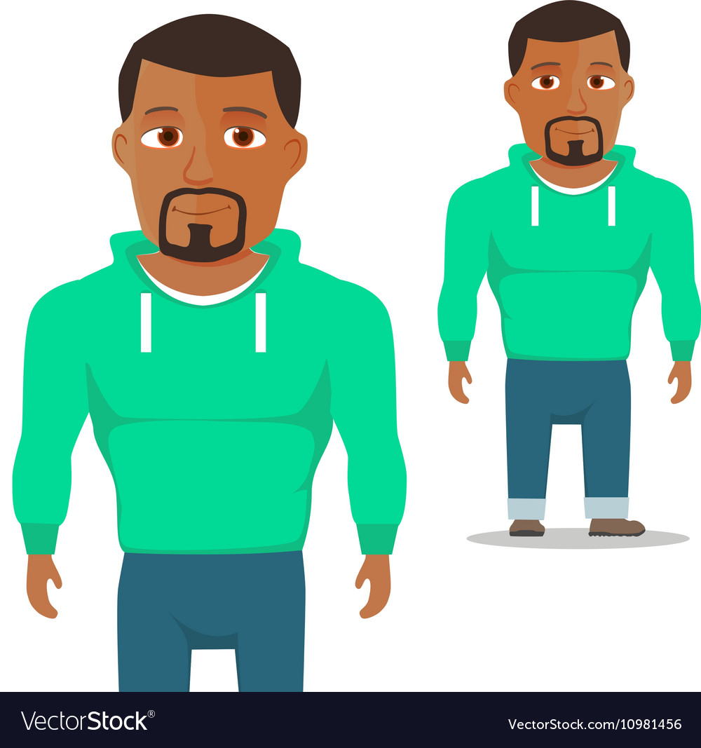 Black Man in green hoody Cartoon Character