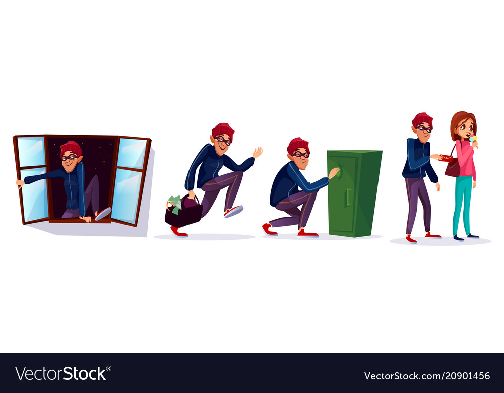 Cartoon robber thief characters set